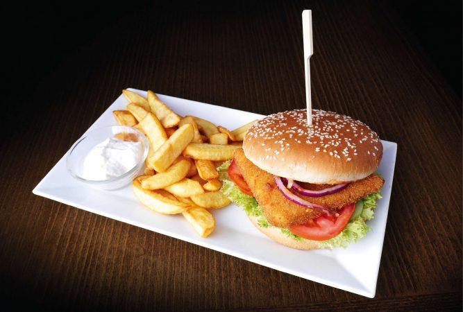 Syrový hamburger